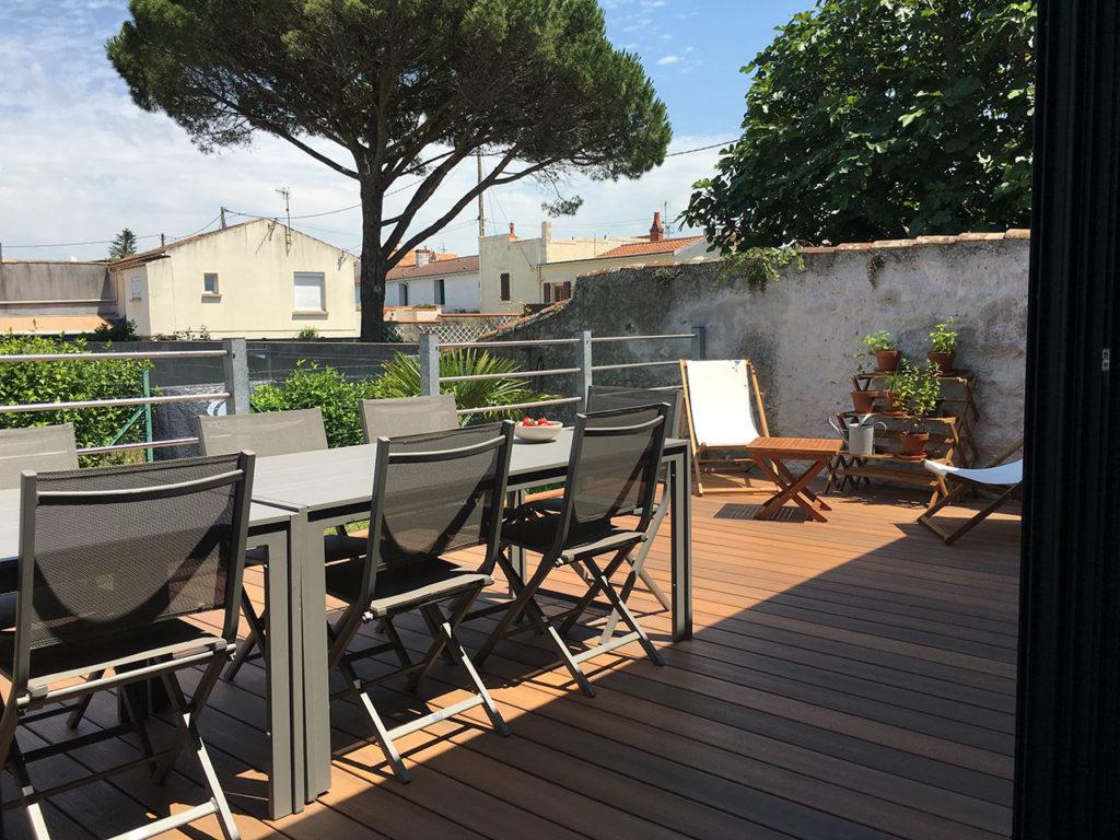 location villa amiral laiguillon sur mer terrasse vue jardin