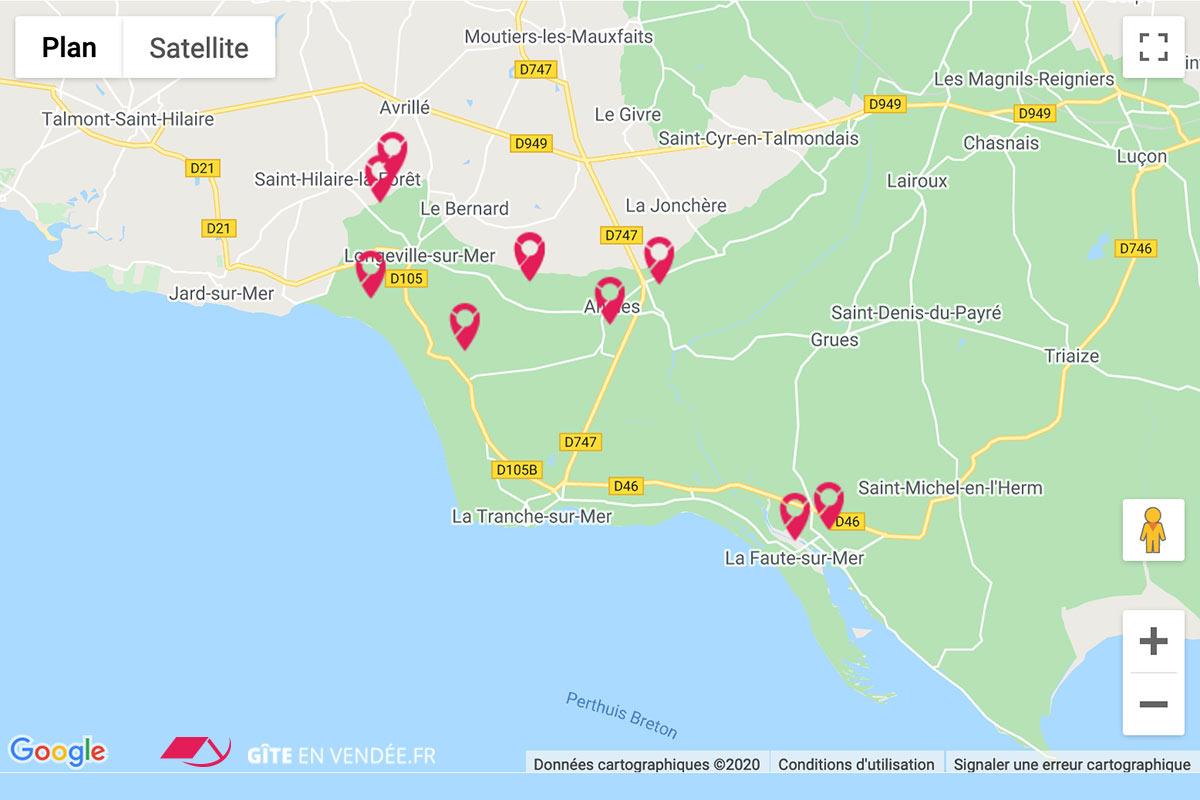 carte gites locations en sud vendee